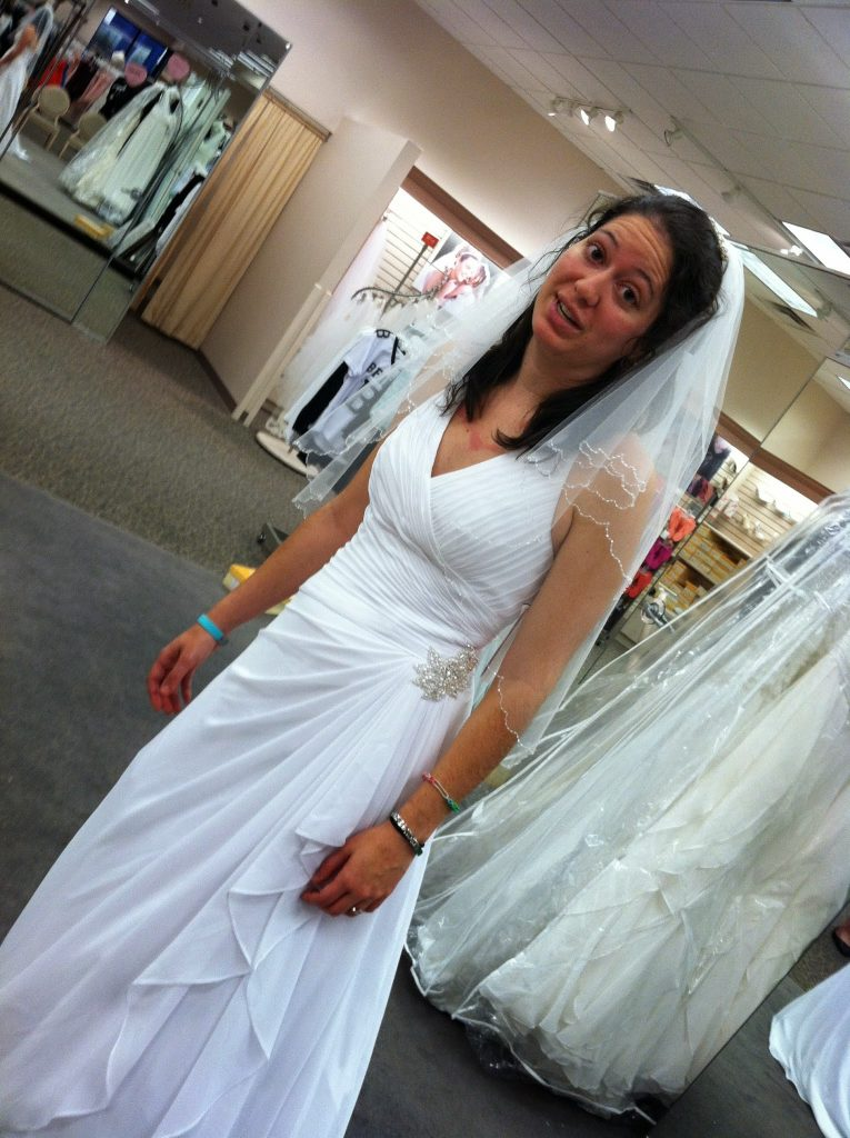 A woman with adrenal insufficiency is completely exhausted although she should be happy because she is trying on her wedding dress.