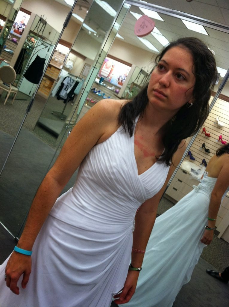 A woman with adrenal insufficiency does not have the strength to smile during what should have been the happy moment of finding her wedding dress.