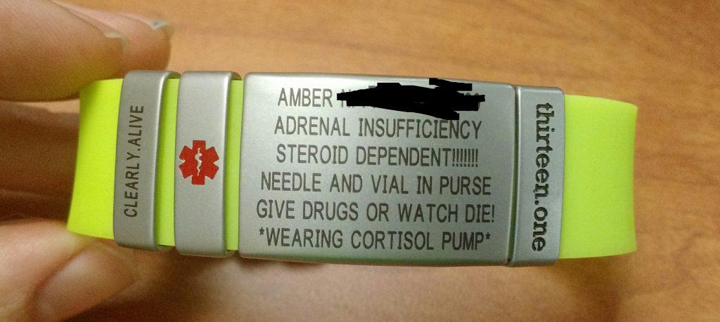 Cortisol pump medical alert bracelet