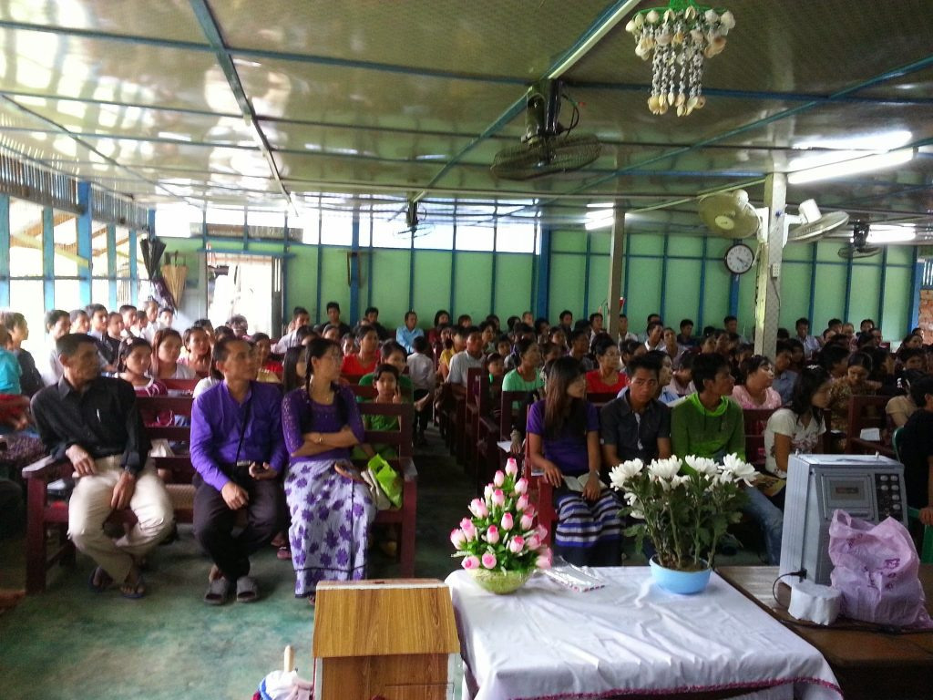 Picture of half of the audience for a speech to a village in Myanmar. There were about 200 people in attendance.