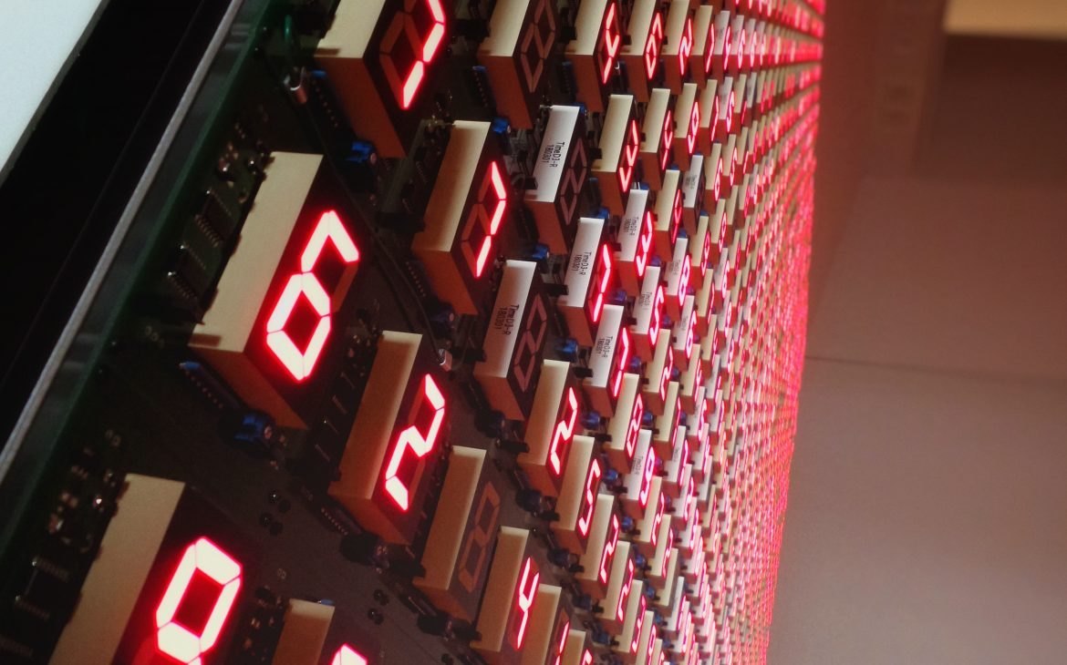 An array of 7 seg LED displays