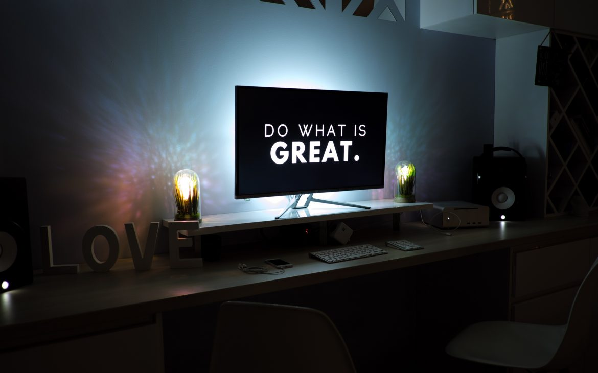 """""""Do what is great."""" on a flat screen computer monitor"""