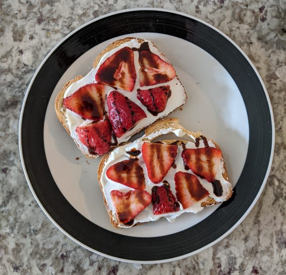 No Added Sugar Strawberry Balsamic Toast with Greek Yogurt