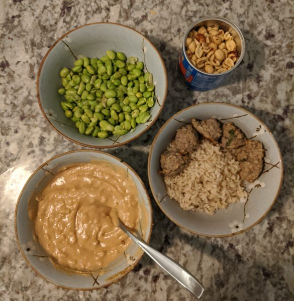 No added sugar cilantro-lime turkey meatballs with peanut sauce