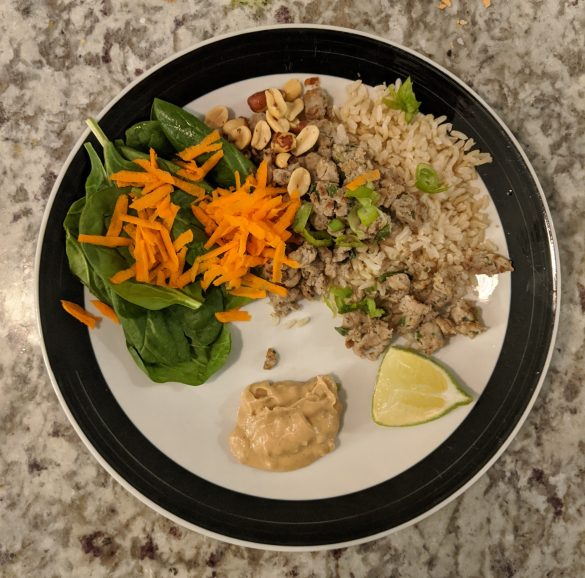 No added sugar thai-style turkey over rice