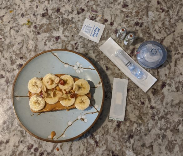 no added sugar peanut butter toast with sliced banana