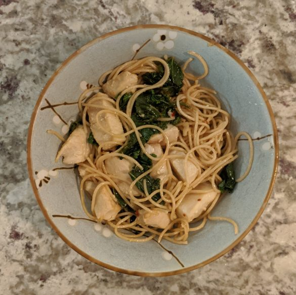 No added sugar Whole Wheat Pasta With Lemon Kale Chicken