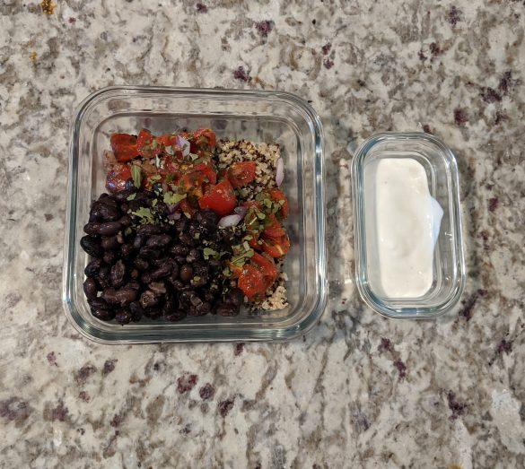 No added sugar Southwestern Quinoa Bowl With Black Beans & Lime Crema