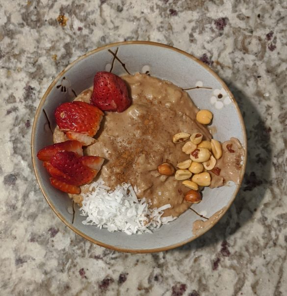 No added sugar Almond Milk Oatmeal With Peanut Butter, Banana, and Strawberry