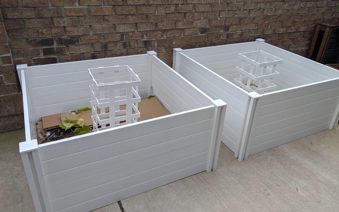 Two keyhole compost gardens, side by side.